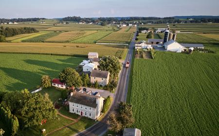 Aerial shot of Amish farmland