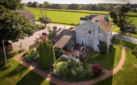 Aerial shot of B&B and gardens